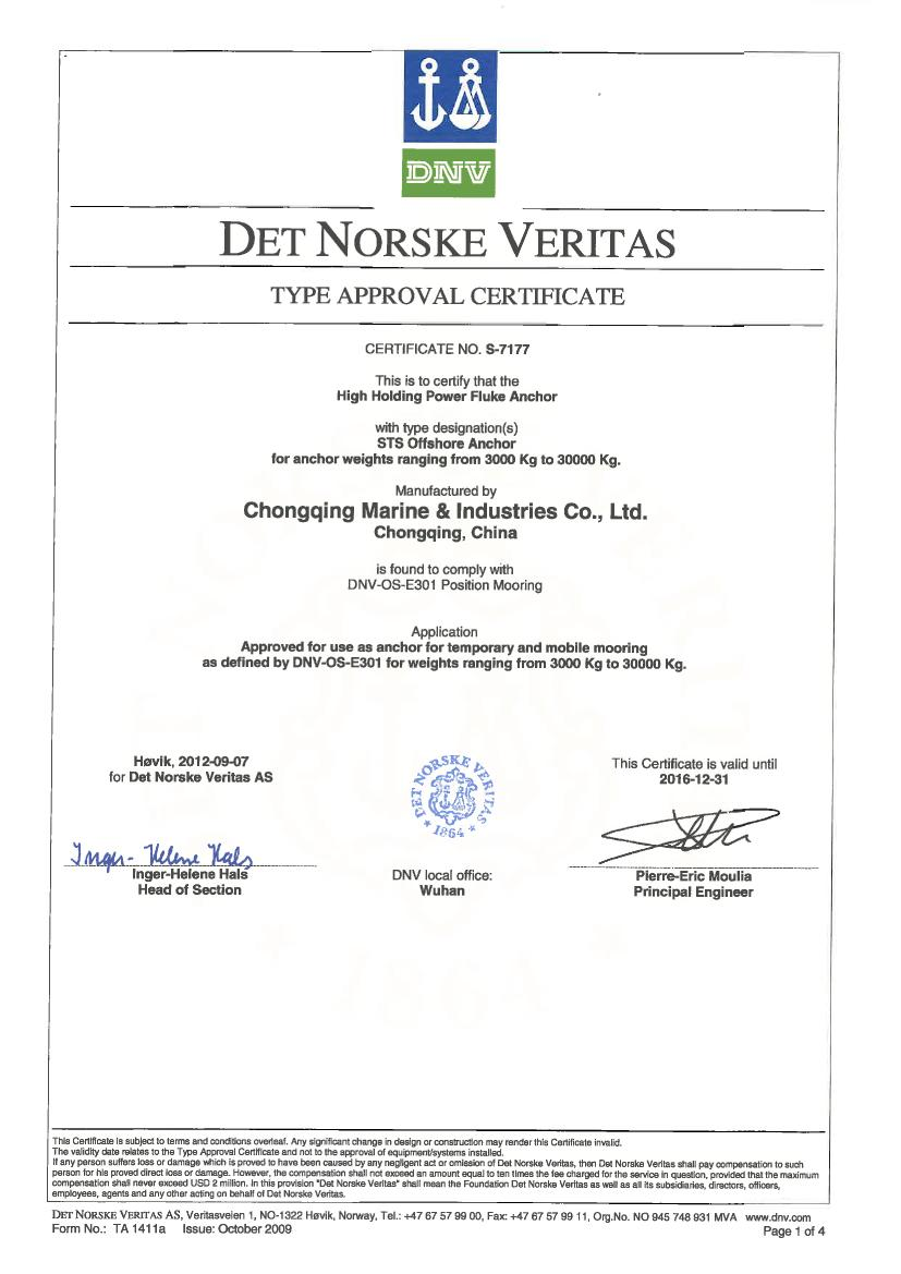 Dnv type approval cert for sts offshore anchor ta cert s 71770000g dnv type approval cert for sts offshore anchor xflitez Gallery